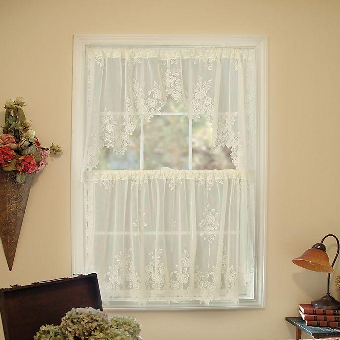 Alternate image 1 for Heritage Lace® Tea Rose 30-Inch Window Curtain Tier in Ecru