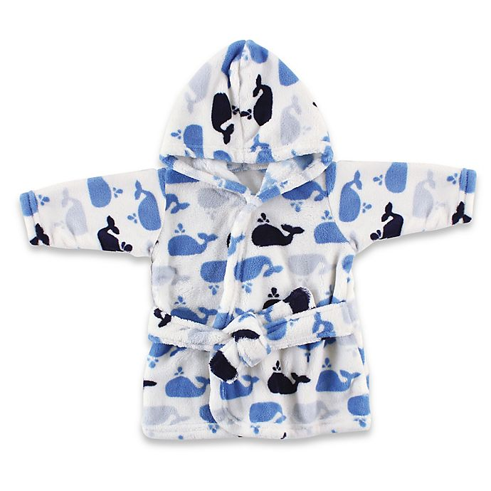 Alternate image 1 for Luvable Friends Size 0-9M Coral Fleece Robe in Blue