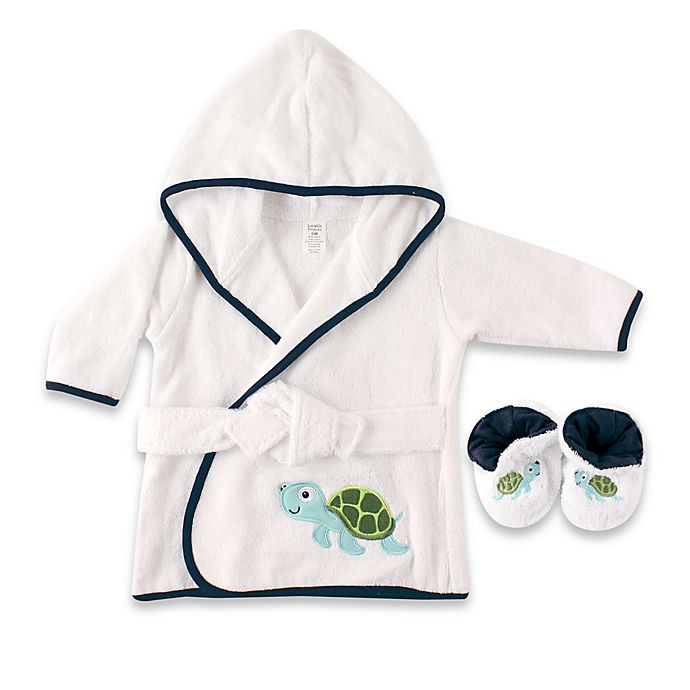 Alternate image 1 for Baby Vision® Luvable Friends® Turtle Bathrobe and Slippers Set