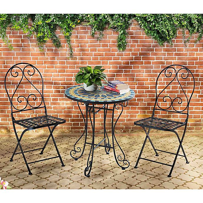Awe Inspiring Mosaic Bistro 3 Piece Outdoor Table And Chairs Set Bed Creativecarmelina Interior Chair Design Creativecarmelinacom