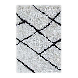 Linon Home Tangier 2-Foot x 3-Foot Accent Rug in Ivory/Black