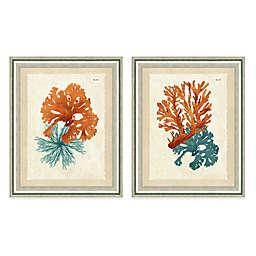 Framed Giclée Teal and Orange Seaweed Print Wall Art Collection
