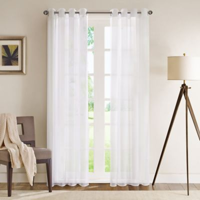 Madison Park Wynn 84 Inch Grommet Top Sheer Window Curtain Panel In White Bed Bath And Beyond Canada