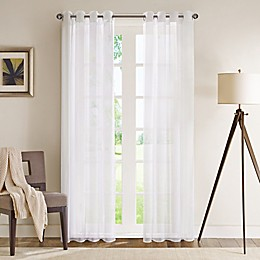 Madison Park Wynn 84-Inch Grommet Top Sheer Window Curtain Panel in White