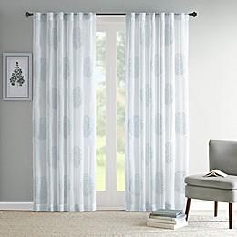 Madison Park Genia Rod Pocket/Back Tab Sheer Branch Flocking Window Curtain Panel