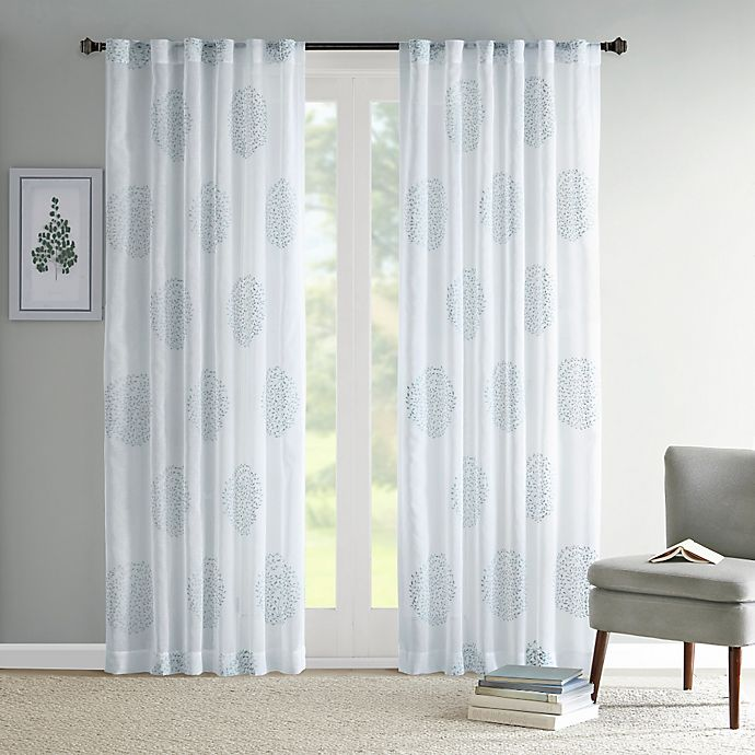 Alternate image 1 for Madison Park Genia 84-Inch Rod Pocket/Back Tab Sheer Branch Flocking Window Curtain Panel in Aqua