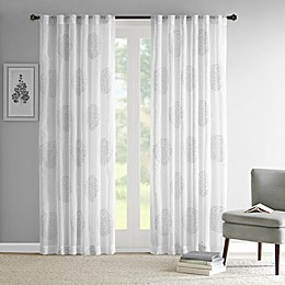 Madison Park Genia Rod Pocket/Back Tab Sheer Branch Flocking Window Curtain Panel