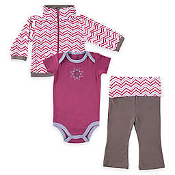 BabyVision® Size 9-12M Yoga Sprout 3-Piece Lotus Jacket, Bodysuit and Pant Set in Purple