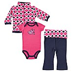 BabyVision® Size 3-6M Yoga Sprout 3-Piece Bird Bodysuit, Pant, and Jacket Set in Pink/Blue