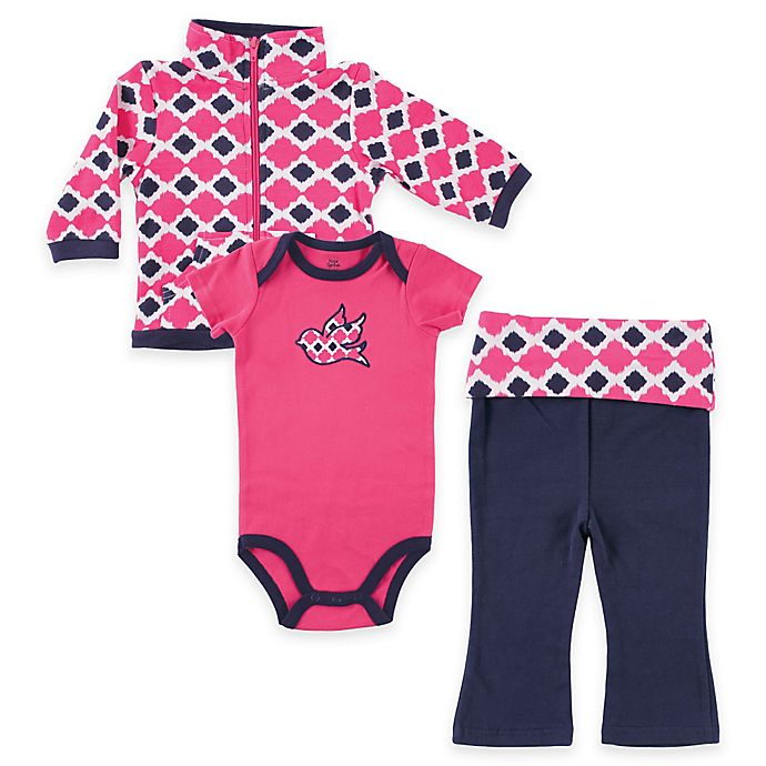 Alternate image 1 for BabyVision® Size 0-3M Yoga Sprout Bird Bodysuit, Pant, and Jacket Set in Pink/Blue