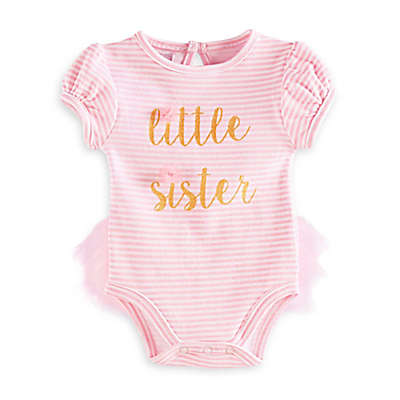 "Mud Pie® ""Little Sister"" Short Sleeve Tutu-Back Bodysuit in Pink/Gold"