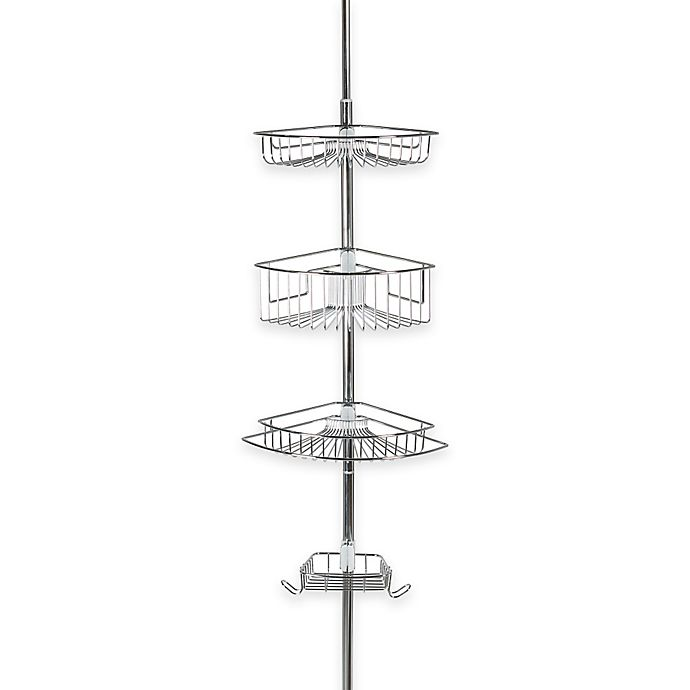 Alternate image 1 for Adjustable 3-Tier Tension Pole Shower Caddy