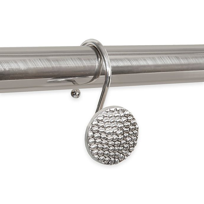 Alternate image 1 for Button Shower Curtain Hooks in Hammered Brushed Nickel (Set of 12)