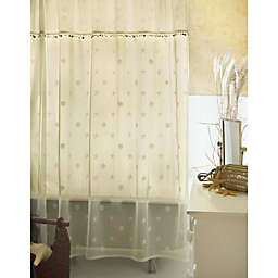 Heritage Lace Sand Shell Shower Window Curtain Panel and Valance Set in Ecru