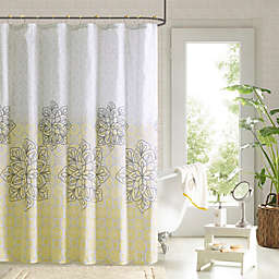 Jessica Shower Curtain and Hook Set in Yellow