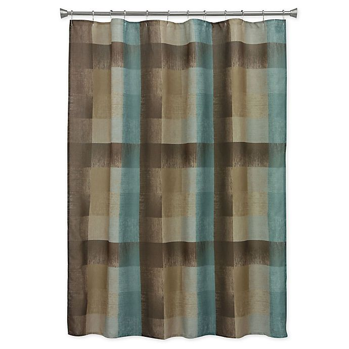 Bacova Fresh Flannel Shower Curtain In Brown Blue Bed Bath