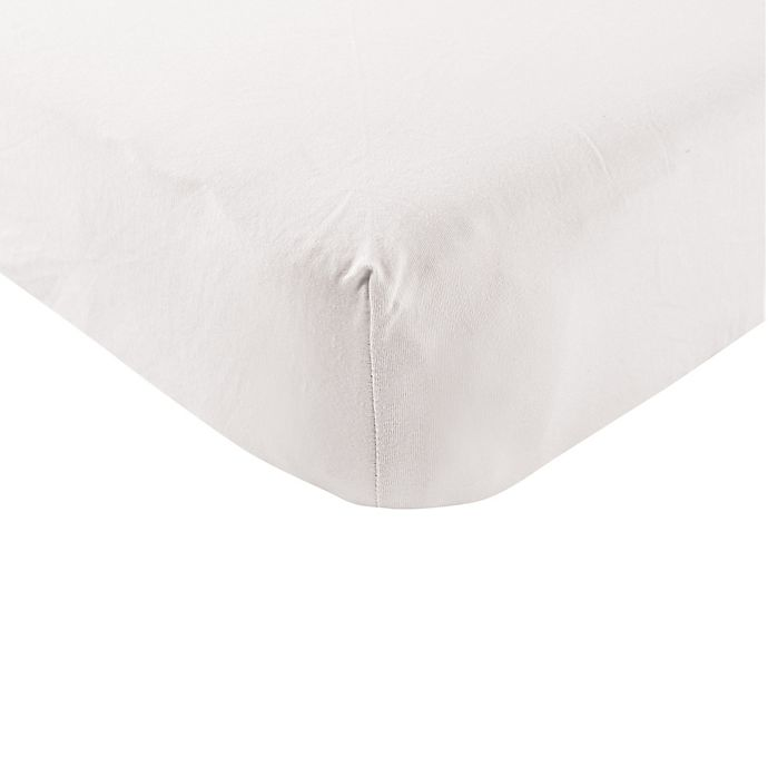 Alternate image 1 for BabyVision® Touched by Nature Organic Cotton Knit Fitted Crib Sheet in White