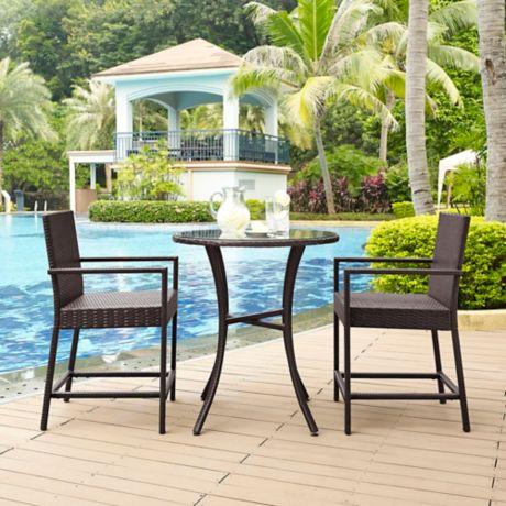 Crosley palm harbor 3 piece outdoor wicker patio bistro - Bed bath and beyond palm beach gardens ...