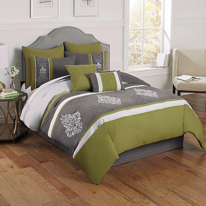 wonderful gray green bedroom bedding | Montclair 8-Piece Comforter Set in Green/Grey | Bed Bath ...
