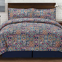 Tao Reversible Duvet Cover Set in Navy