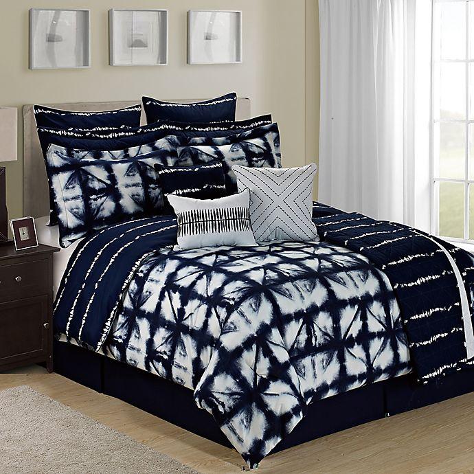 a423545116ba Tie Dye Reversible 12-Piece King Comforter Set in Navy White