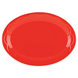 kate spade new york All In Good Taste Sculpted Scallop Oval Platter in Red