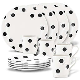 kate spade new york All in Good Taste™ Deco Dot Dinnerware Collection In Black