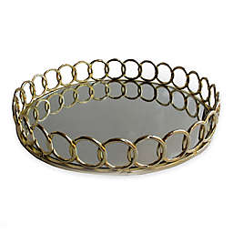 American Atelier Round Mirror Looped Metal Tray