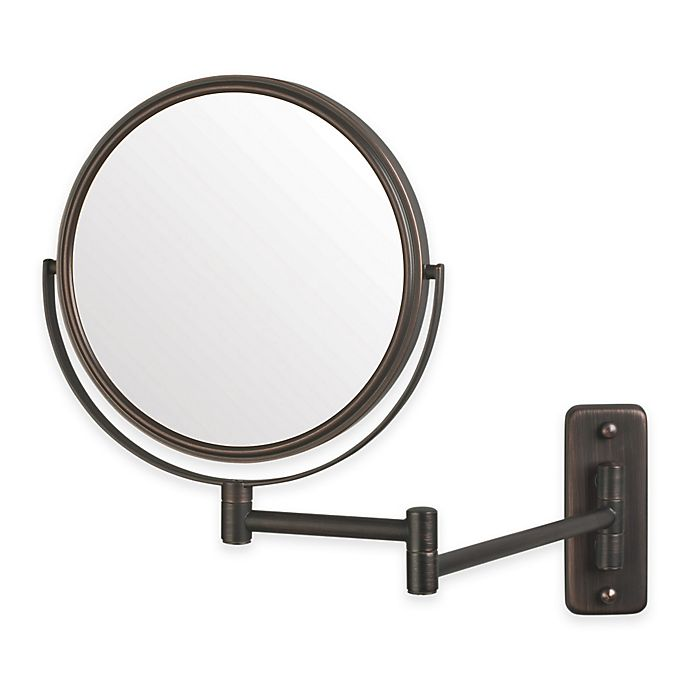 Alternate image 1 for Jerdon 5X/1x 2-Sided Round Wall Mount Mirror in Bronze
