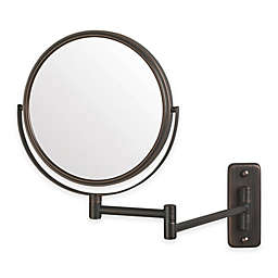 Jerdon 5X/1x 2-Sided Round Wall Mount Mirror in Bronze