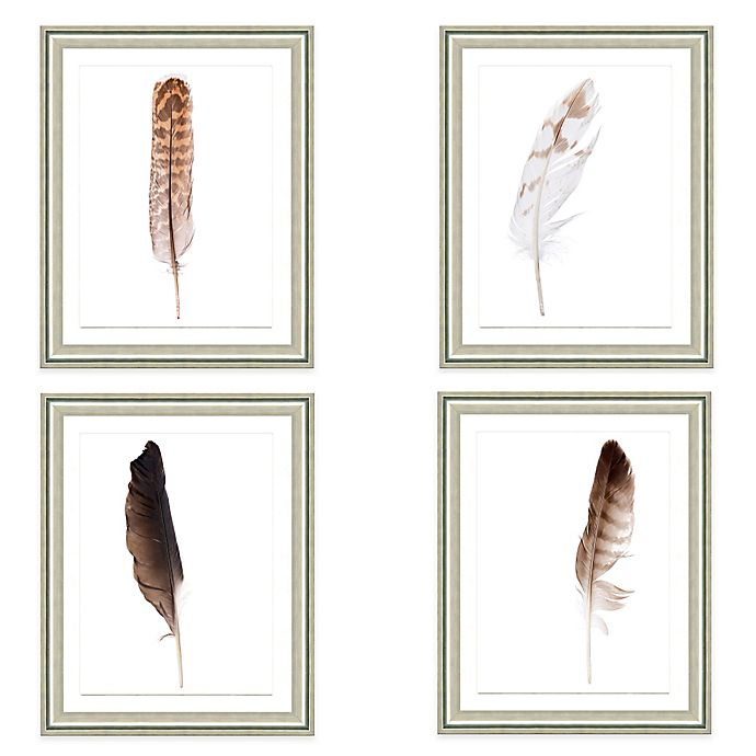 Neutral Feather Framed Fine Art Print Collection | Bed ...