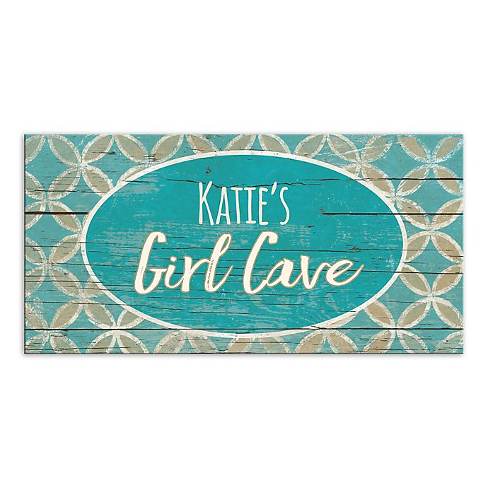 Alternate image 1 for Girl Cave Blue and Cream Canvas Wall Art
