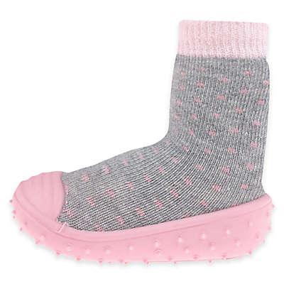 Capelli New York Polka Dot Slipper Socks in Grey