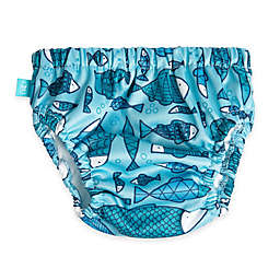 Honest Fish Print Swim Diaper in Blue