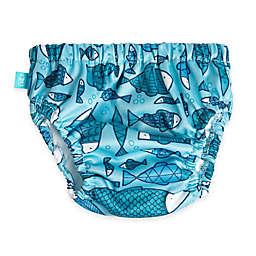 Honest Fish Print Swim Diaper in Blue