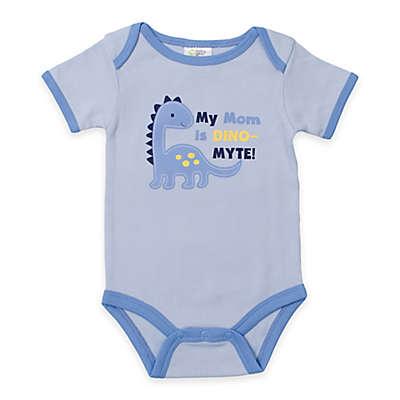 "babygear™ ""My Mom is Dino-Myte"" Dinosaur Bodysuit in Blue"