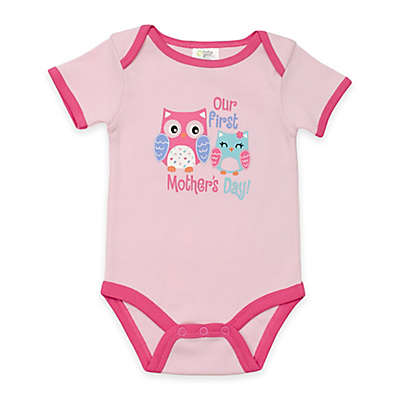 """BabyGear™ """"Our First Mother's Day"""" Owl Bodysuit in Pink"""