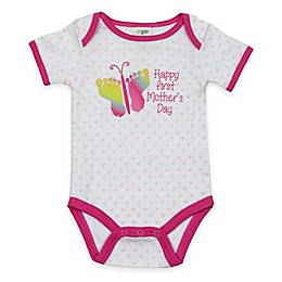 "babygear™ ""Happy First Mother's Day"" Butterfly Bodysuit in White/Pink"