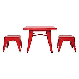 Babyletto 3-Piece Lemonade Lemonade Table and Stool Set in Strawberry