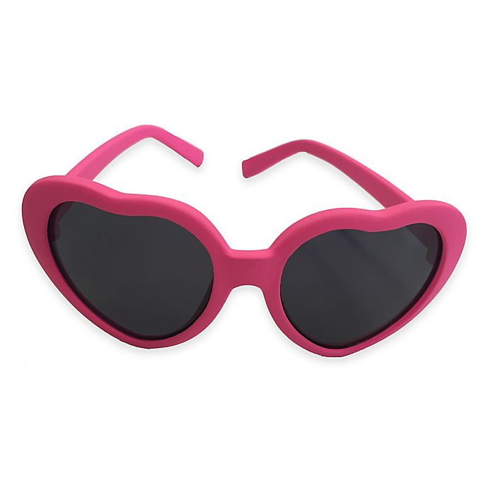 Alternate image 1 for On The Verge Heart Shaped Rubber Sunglasses in Hot Pink