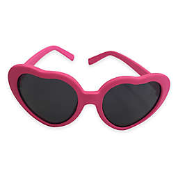 On The Verge Heart Shaped Rubber Sunglasses in Hot Pink