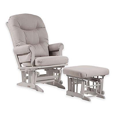 Dutailier® Ultramotion Sleigh Glider and Regular Ottoman in White/Light Grey