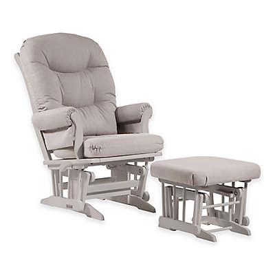 Dutailier® Ultramotion Sleigh Glider and Nursing Ottoman in White/Light Grey