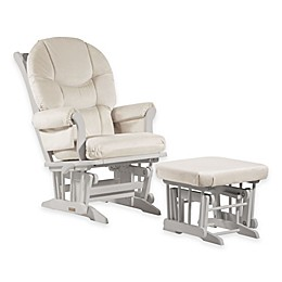 Dutailier® Ultramotion Round Back Sleigh Glider and Ottoman in White/Light Beige