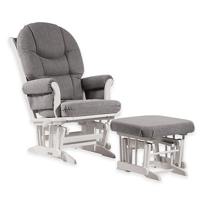 Alternate image 1 for Dutailier® Ultramotion Round Back Sleigh Glider and Ottoman in White/Grey