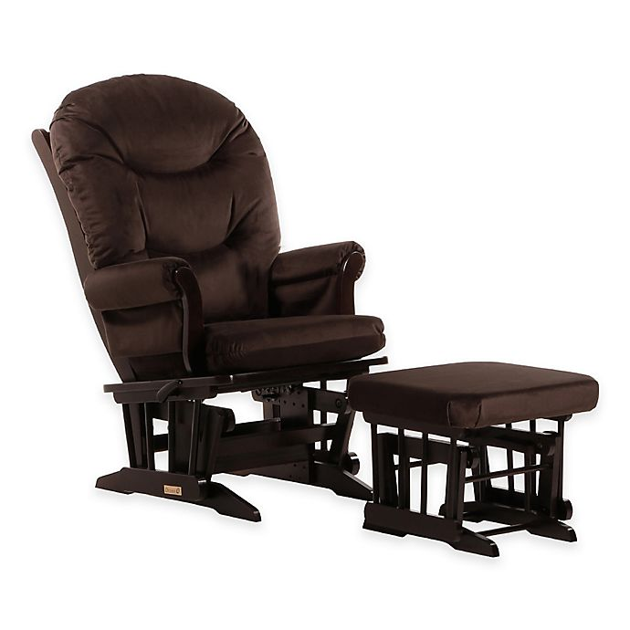 Alternate image 1 for Dutailier® Ultramotion Round Back Sleigh Glider and Nursing Ottoman in Espresso/Chocolate