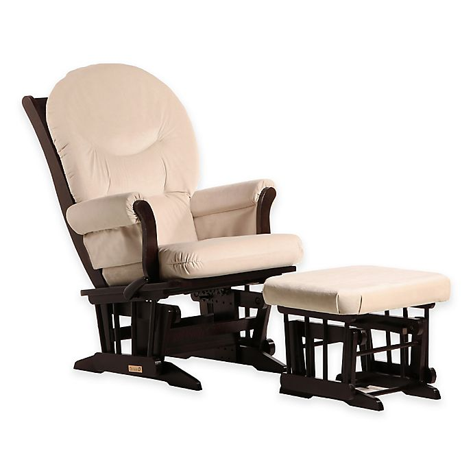 Alternate image 1 for Dutailier® Ultramotion Multiposition Sleigh Glider and Ottoman in Espresso/Light Beige