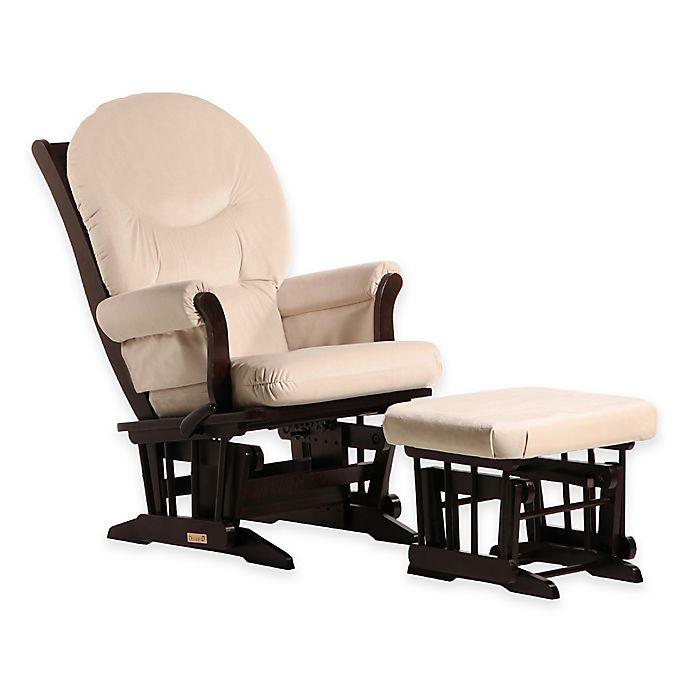 Alternate image 1 for Dutailier® Ultramotion Round Back Sleigh Glider and Nursing Ottoman in Espresso/Light Beige