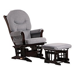 Dutailier® Ultramotion Sleigh Glider and Ottoman in Espresso/Dark Grey