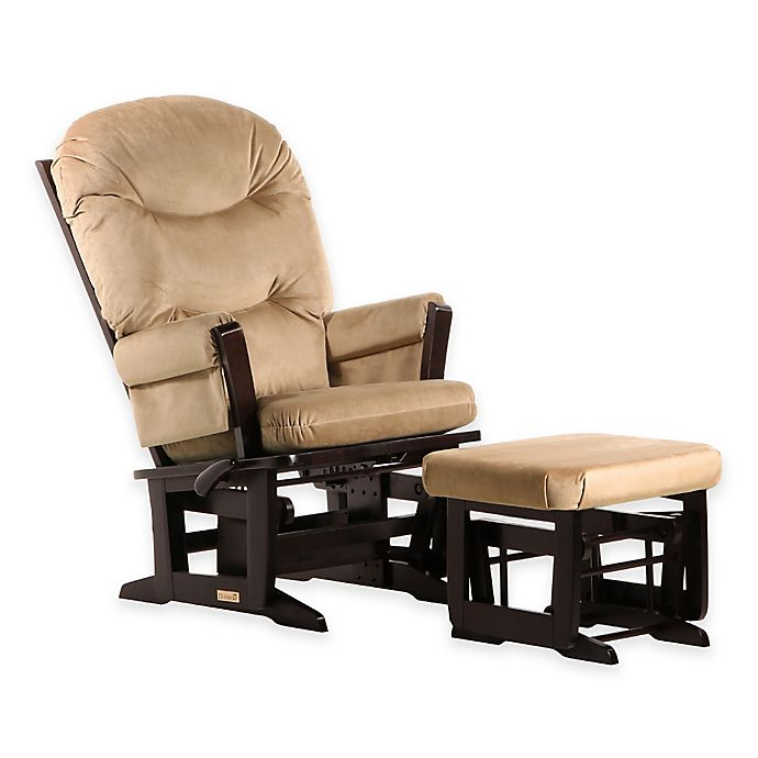 Alternate image 1 for Dutailier® Ultramotion Round Back Modern Glider and Ottoman in Espresso/Light Brown
